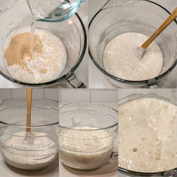 Step by step pictures for making poolish for a baguette recipe.