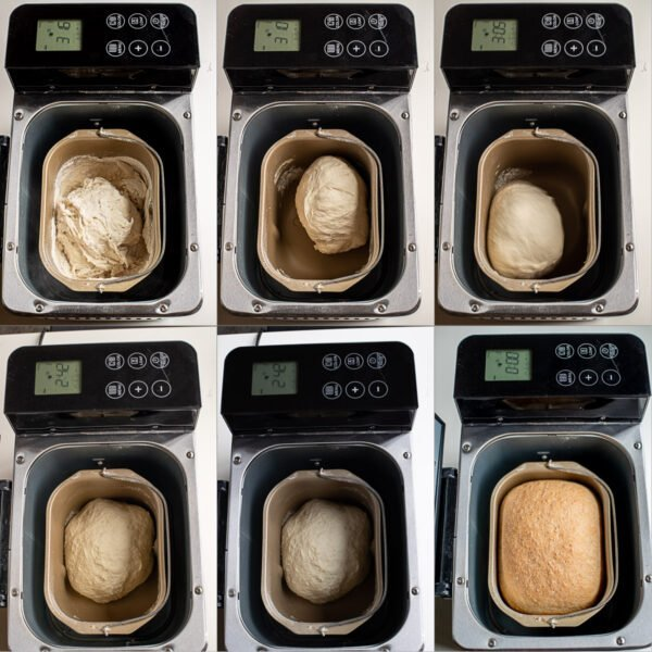 Step by step pictures of the bread in the bread maker.