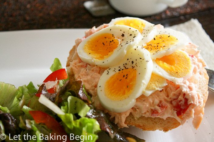 Toasted Sesame Bun with Salmon and Egg| by Let the Baking Begin!