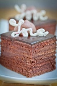 Chocolate Truffle Cake - tender chocolate sponge cake layers soaked with Kahlua liquer, then layered with truffle filling. The most epic chocolate cake ever!
