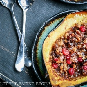 Acorn Squash with Brown Sugar, Walnuts & Cranberries