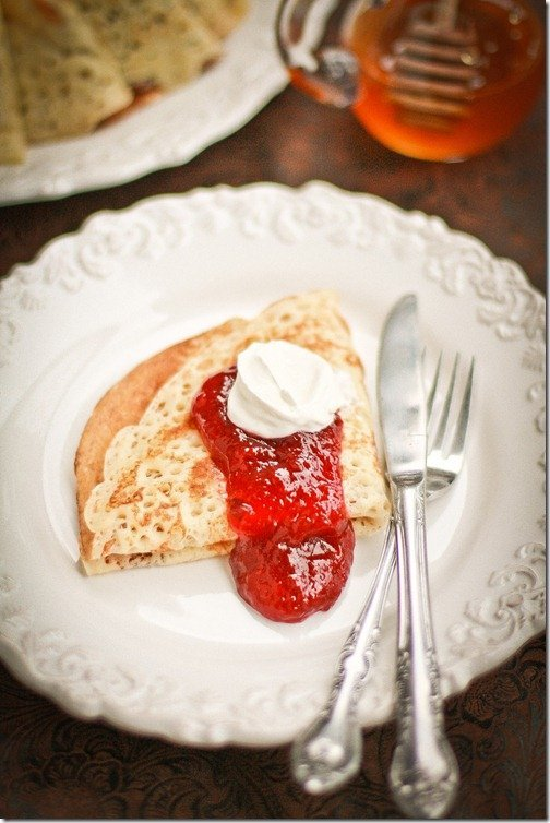 Russian Yeast Blini are thick, slightly chewy with nice lacy appearance from the yeast in the batter. This recipe is a true Russian Blini recipe that is a nice treat for breakfast, snack or even dinner if you wish.