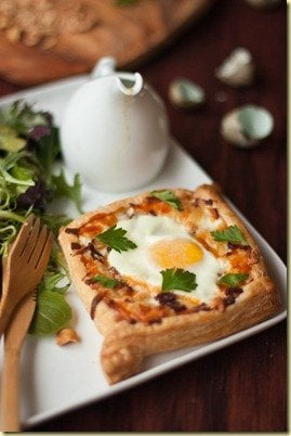 Egg Tart and Green Salad w/ Walnuts and Honey Mustard Dressing {LettheBakingBeginBlog.com}