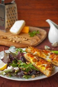 Puff Pastry Egg Tart and Green Salad w/ Walnuts and Honey Mustard Dressing