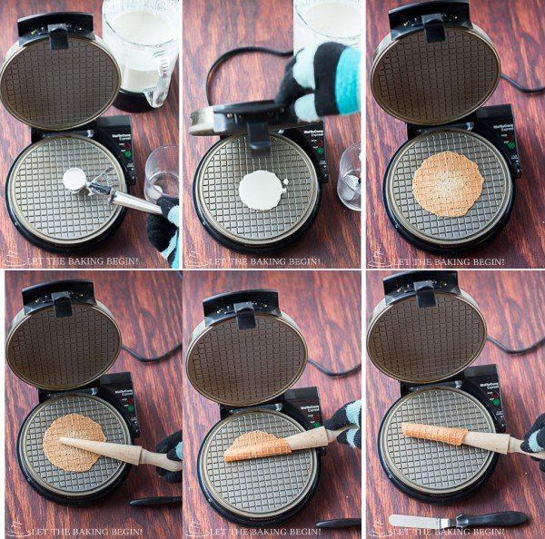 How to bake wafers in waffle iron and roll with a pizzelle-cone roller.