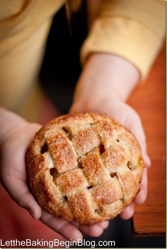 Prepared mini apple pie recipe being held with two hands.