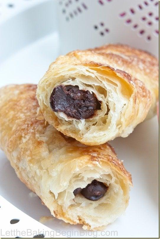 Croissant-like Breakfast Chocolate Sticks {LettheBakingBeginBlog.com}