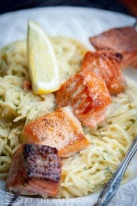 Oven Grilled Salmon & Creamy Dill Pasta - Juicy salmon kabobs without turning on the grill? Count me in! by LetTheBakingBeginBlog.com | @Letthebakingbgn