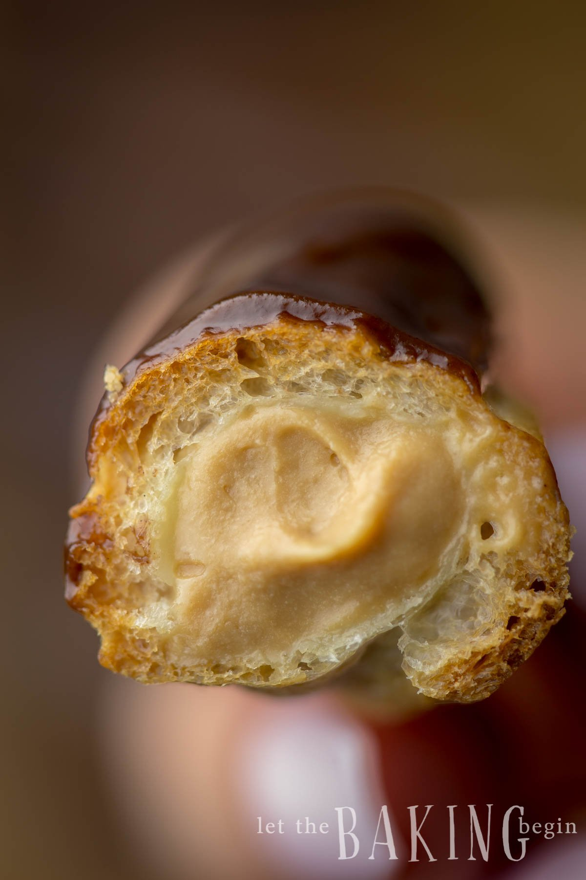 Classic Eclair is a hollow pastry shell filled with creamy custard. Great dessert.