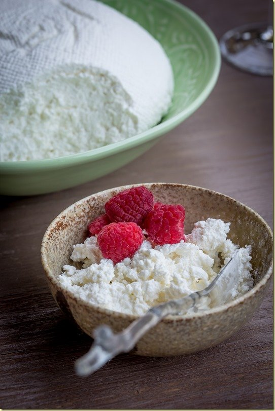 A bowl of farmer's cheese topped with fresh raspberries and a spoon.