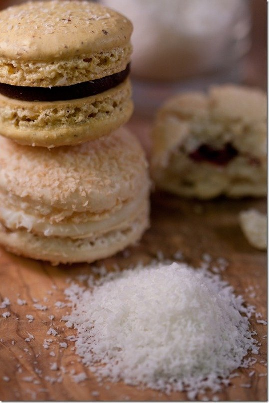 "Macaron ""Rafaello - Delicate Coconut Shell filled with White Chocolate Ganache, by LettheBakingBeginBlog.com"