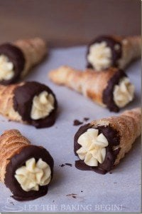 Crispy Cream Horns filled with Condensed Milk based Custard and dipped in Chocolate by LettheBakingBeginBlog.com
