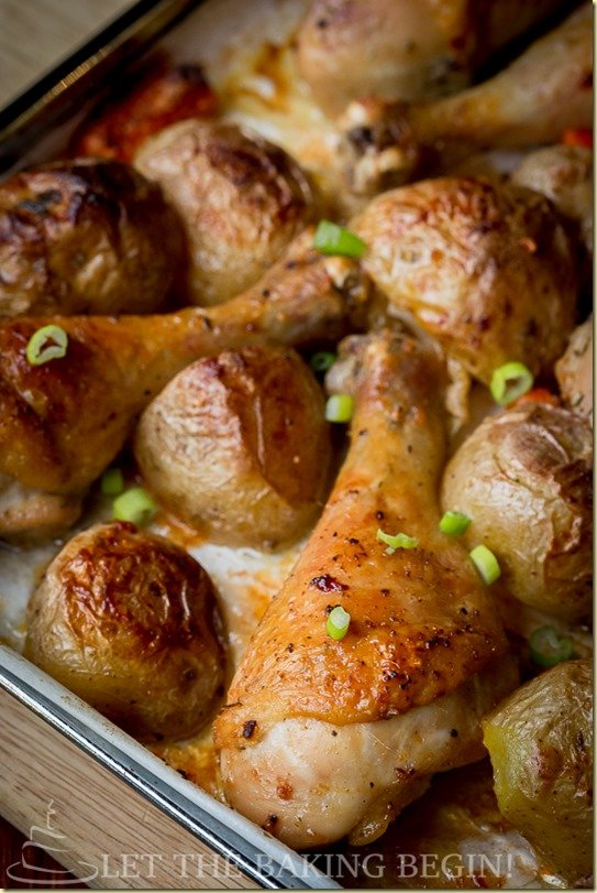 one pot meal roasted drumsticks and potatoes let the baking begin. Black Bedroom Furniture Sets. Home Design Ideas