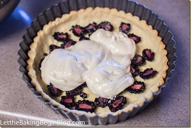 Creamy flan-like Cheesecake Tart with Blackberries by LettheBakingBeginBlog.com