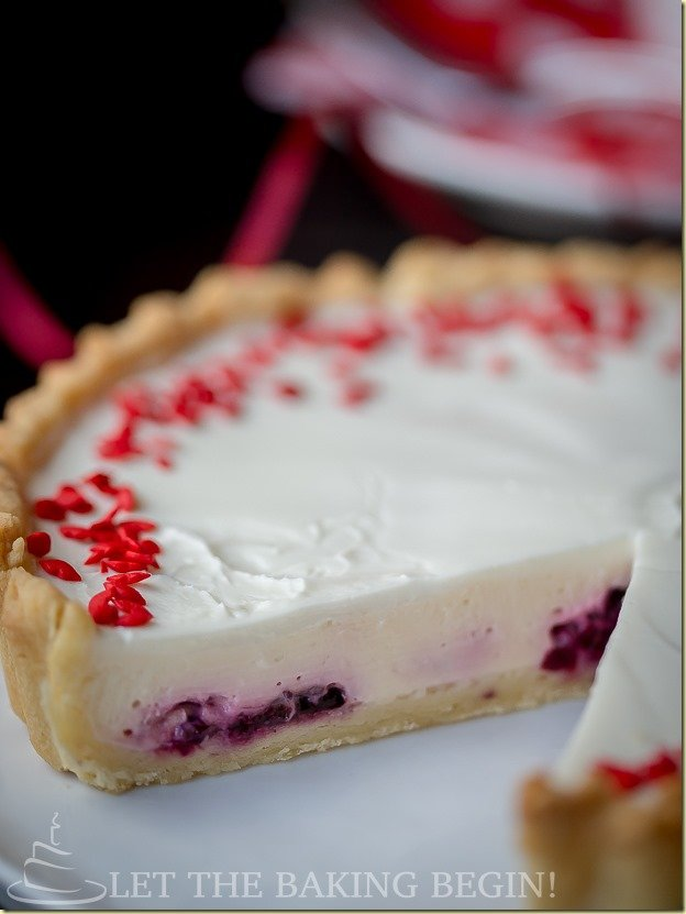 Creamy flan-like Cheesecake Tart with Blackberries by LettheBakingBeginBlog.com