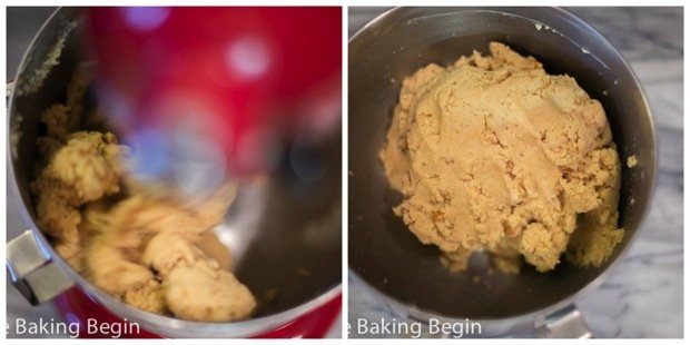 Mixing the batter for this cake truffles recipe.
