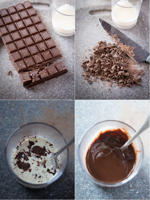 Using a chocolate candy bar to make this shiny chocolate ganache recipe.