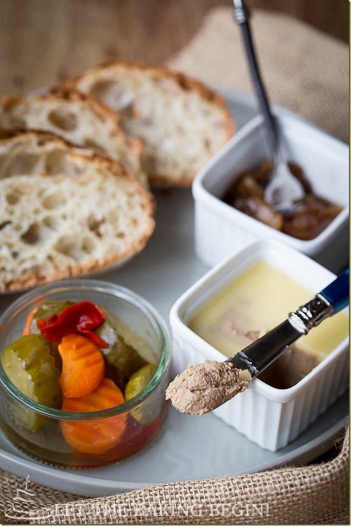 Fancy up your appetizer course with this Liver Mousse & Balsamic Onions. Easy to make, can be made in advance & delicious beyond words! by LettheBakingBeginBlog.com