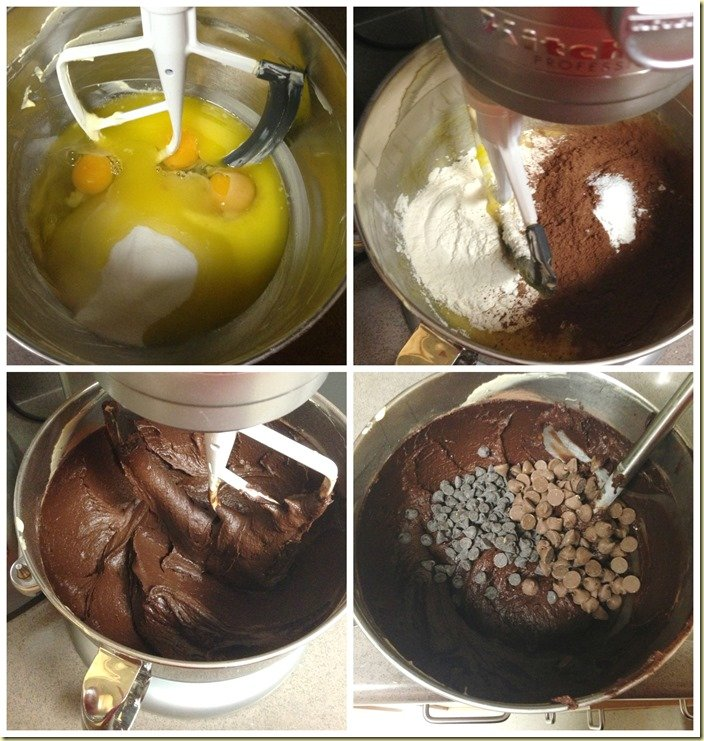 Visual step by step directions for making the brownie layer of the cheesecake brownies.