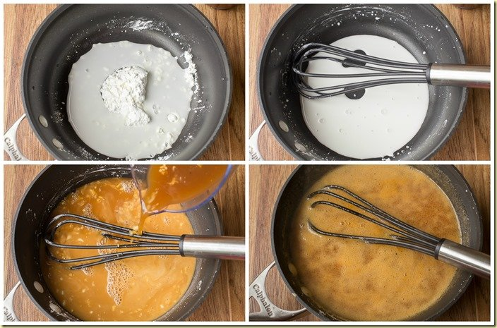 How to mixing together water, marinade, and cornstarch in a skillet and mixing with a whisk.
