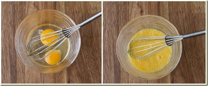 How to whisk eggs in a bowl with a whisk.