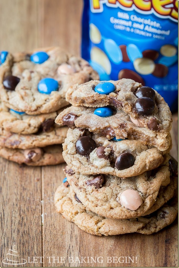 The best Almond Joy Cookies stacked on top of each other with almond joy cookies.