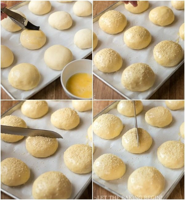 How to sprinkle buns with sesame seeds and egg wash.
