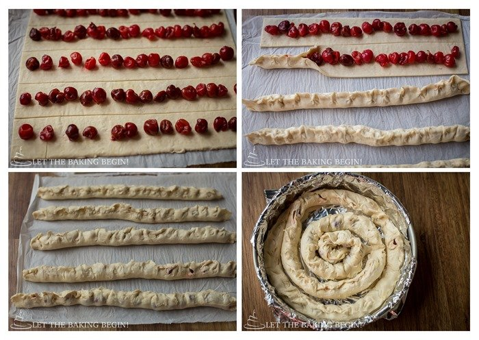 How to make the cherry filled puff pastry cake layers.