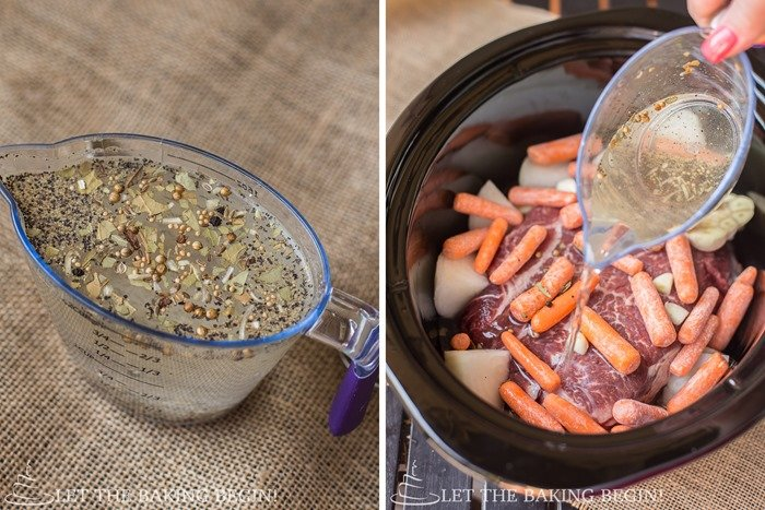 How to add roast, vegetables, and seasoned water into the pot.