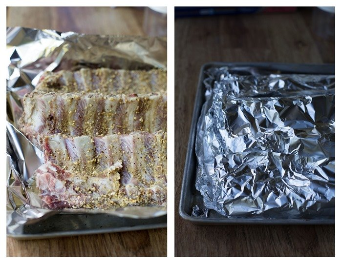 How to place ribs on a foil lined baking sheet and cover ribs with foil.