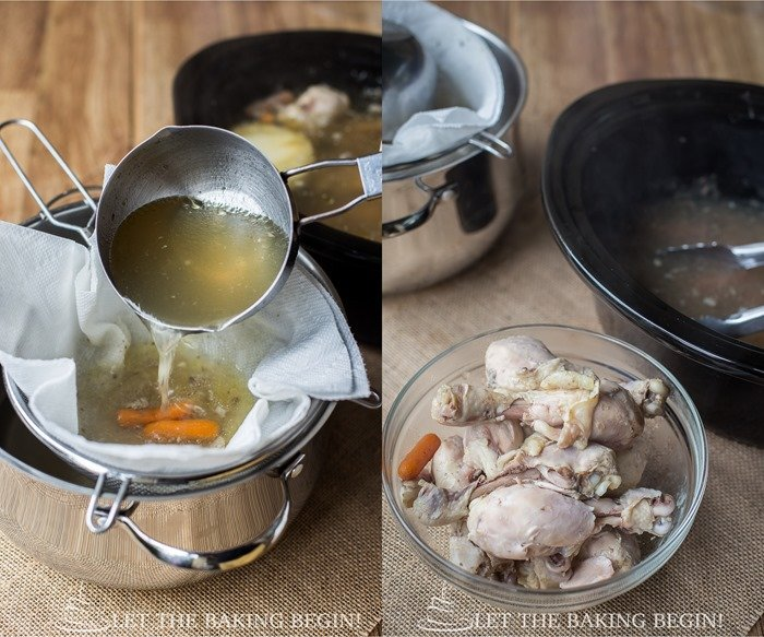 How to line a sieve with paper towel and drain the broth.