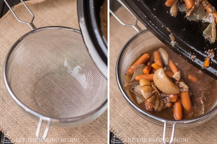 How to drain vegetables and meat juice with a strainer and a bowl.