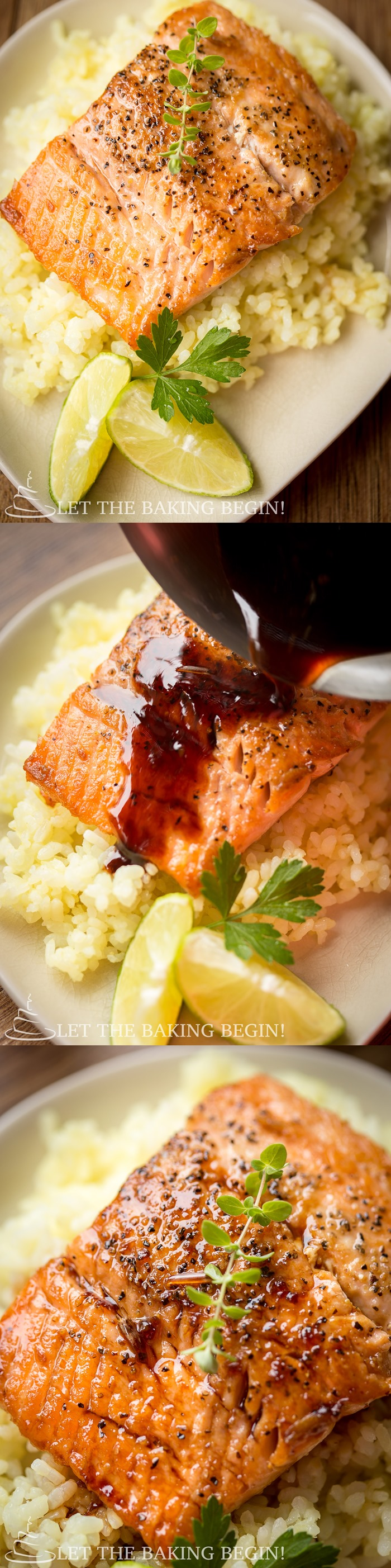 Salmon with Ginger Garlic Sauce is made by pan searing the fish until beautifully golden, then serving by drizzling the homemade Garlic Ginger Sauce on top. The flavors of the garlic and the ginger permeate the fish and make it delicious and juicy.