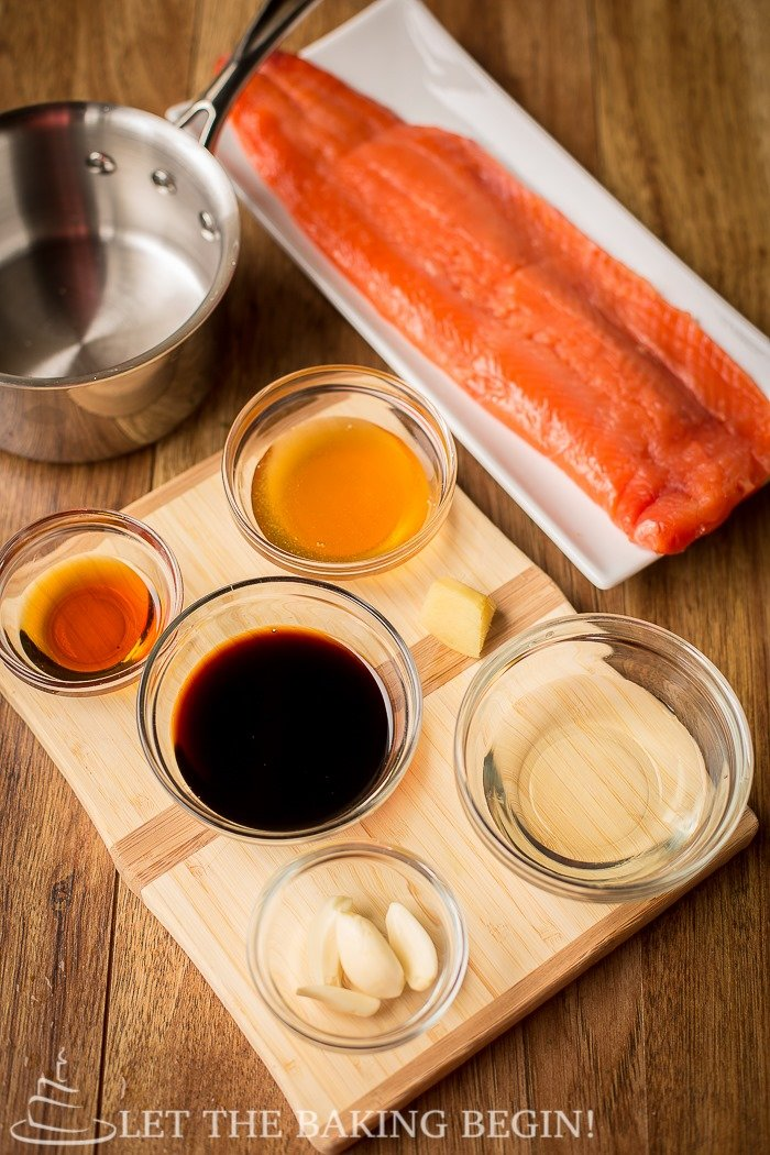 All the ingredients needed to make Garlic Ginger Glazed Salmon recipe.