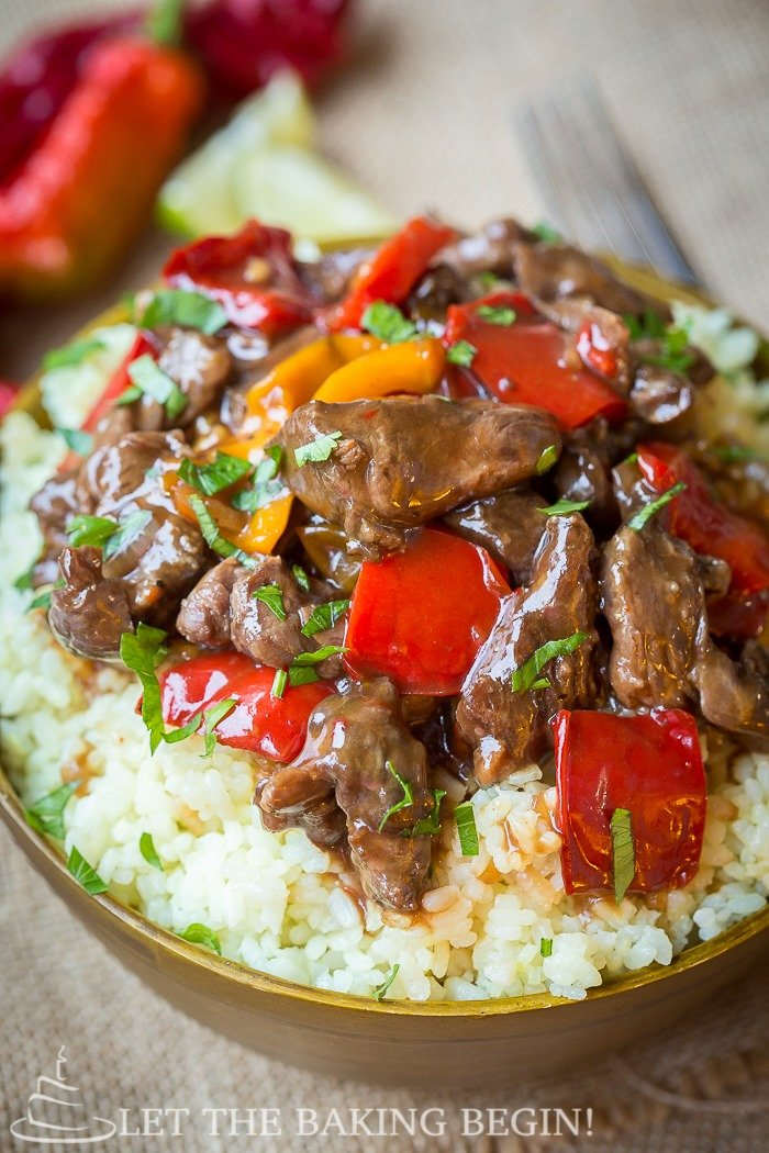 Spicy Slow Cooker Beef & Bell Pepper - CaSlow Cooker Spicy Beef & Bel...