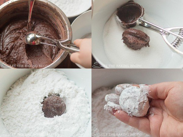 How to add flour-cocoa mixture and fold until no streaks of flour are seen.