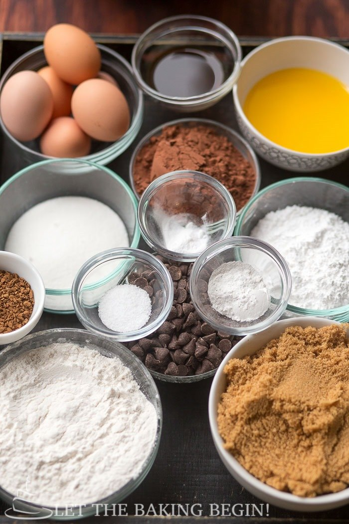 All ingredients in bowls on the table, eggs, vanilla extract, cocoa, sugar, powdered sugar, flour, brown sugar, instant espresso powder, chocolate chips, salt, baking powder and baking soda.