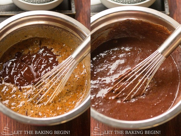 How to whisk sugar, eggs, espresso powder, and vanilla extract in a bowl.