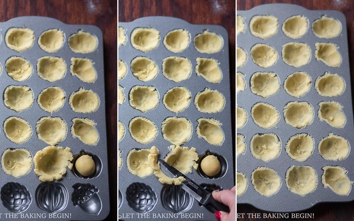 How to shape the shortbread cookies with a cakelet pan.