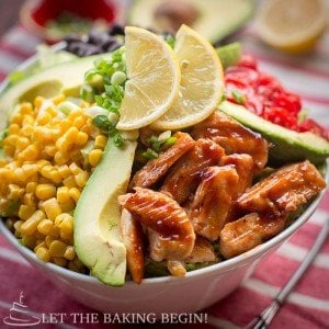 Copycat Cheesecake Factory BBQ Ranch Chicken Salad – get the flavors of summer any time of year with this colorful array of flavors bound together with a creamy BBQ Ranch dressing. by LetTheBakingBeginBlog.com | @Letthebakingbgn