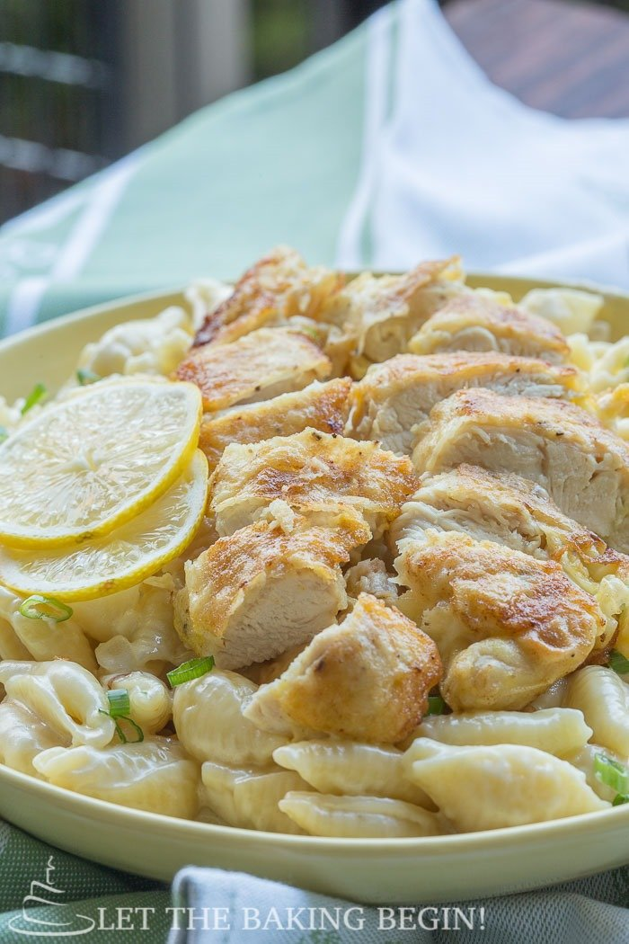 Chicken Tenders w/ Creamy Garlic Pasta Shells - perfect dinner in 30 minutes or less. By LetTheBakingBeginBlog.com | @Letthebakingbgn