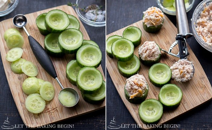 How to scoop out cucumbers with a melon scooper and fill with tuna mixture.