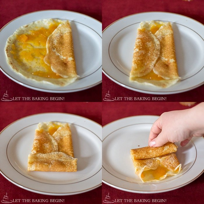 How to fold stuffed crepes using the tuck and roll method.