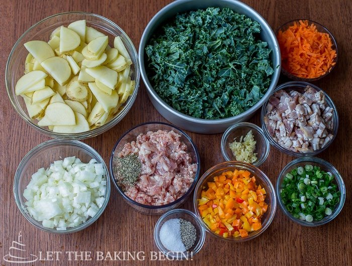 All the ingredients needed for this hearty zuppa Toscana soup.