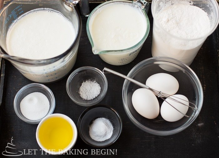 Ingredients for this Choux Pastry Buttermilk Crepes Recipe.