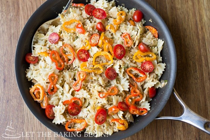 Bow-tie pasta with leftover turkey, cheese and peppers. Great leftover turkey recipe!