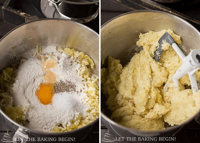 Gnocchi dough being mixed in a stand mixer.