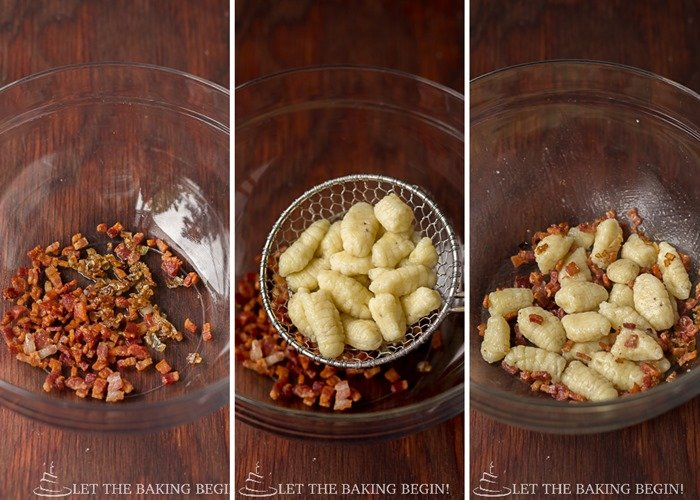 Potato Gnochi with Bacon & Caramelized Onion | By LetTheBakingBeginBlog.com | @Letthebakingbgn