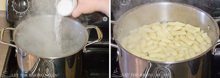 Salted water with gnocchi cooking in it.