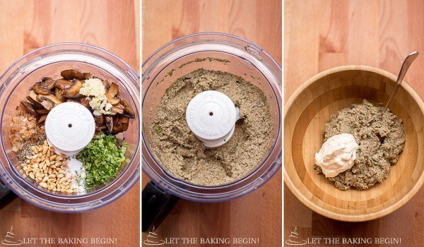Step by step pictures of blending the ingredients for the mushroom pate